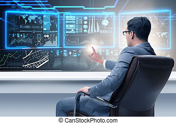 Businessman trading on world markets
