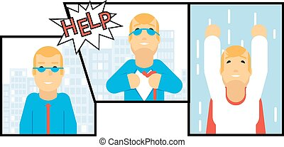 Businessman Transformation Super Hero Character Comics Page Concept Urban Landscape City Street Background Creative Flat Design Vector Illustration
