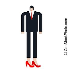 Businessman transsexual. Man in high heels. vector illustration