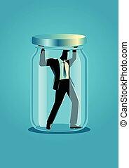 Businessman trapped in a jar