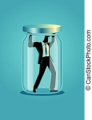 Businessman trapped in a jar