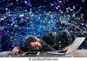 Businessman trapped in a technology network. Concept of internet addiction