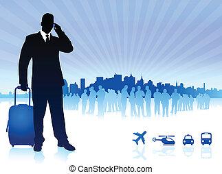 businessman traveler with city skyline
