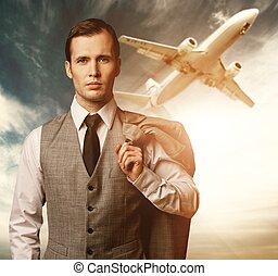 Businessman traveling concept.