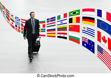 businessman traveling international - businessman traveling...