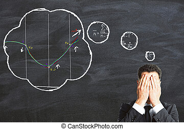 Businessman tries to solve the equation concept