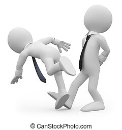 Businessman tripping a workmate - Businessman making the ...