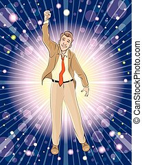 Businessman triumphs - Vector illustration of a businessman ...