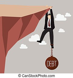 Businessman try hard to hold on the cliff with debt burden. ...
