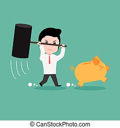 Businessman try to brake piggy bank, cartoon