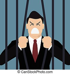 Businessman try to escape from prison. Business concept