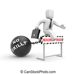 Businessman try to goes ? new level of wages - White 3D...