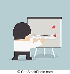 Businessman try to measuring path to success, VECTOR, EPS10