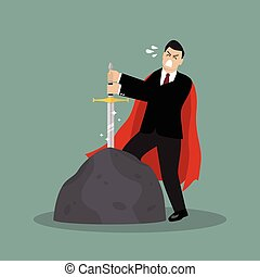 Businessman try to pull sword from stone. Busness concept