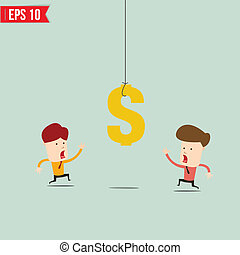 Businessman try to reach money- Vector illustration - EPS10