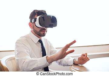 Businessman trying out virtual reality