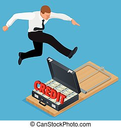 Businessman trying to avoid credit finance banking.  Flat 3d isometric business concept.