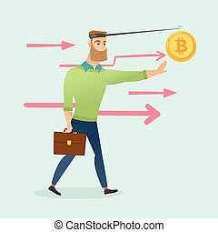 Businessman trying to catch bitcoin on fishing rod