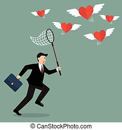 Businessman trying to catch hearts flying