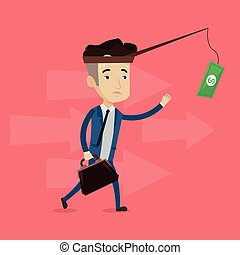 Businessman trying to catch money on fishing rod.