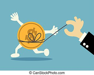 businessman trying to catch money. vector illustration.