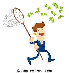 Businessman Trying To Catch Money With a Net