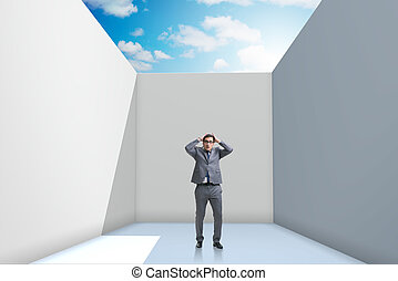Businessman trying to escape from difficult situation