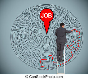 Businessman trying to find a job in a maze - Businessman on...