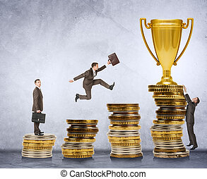 Businessman trying to get gold cup moving on coins stairs