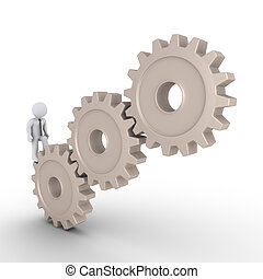 Businessman trying to reach the top of cogwheels