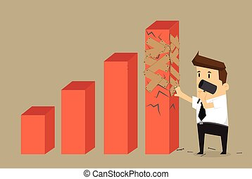 Businessman trying to repair the graph