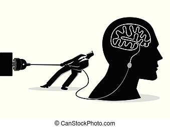 Businessman trying to unplug the brain - Business concept...