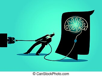 Businessman trying to unplug the brain