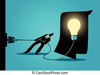 Businessman trying to unplug the light bulb brain