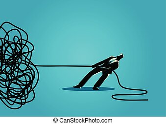 Businessman trying to unravel tangled rope or cable -...