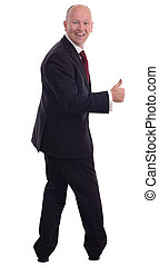 businessman turned around with a big thumbs up isolated on a white background