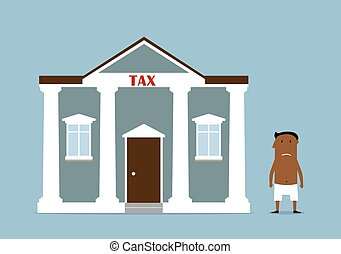 Taxpayer, tax time and bankruptcy concept. Bankrupt dark skinned businessman lost all money after taxes. Vector