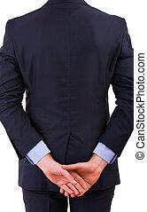 Businessman turning his back.