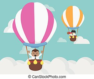 Businessman two flying on balloon challenge concept