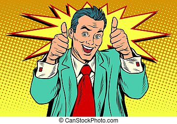 businessman two like gesture, thumb up