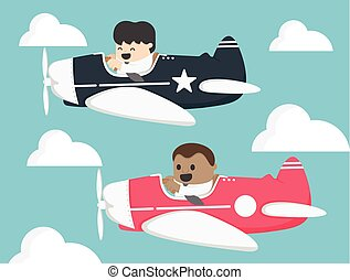 Businessman two pilots flying on airplane In the sky