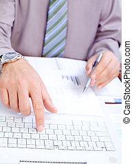 Businessman typing