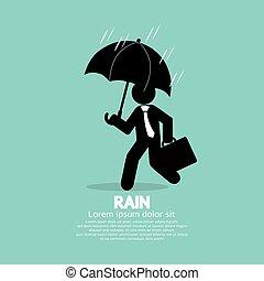 Businessman Umbrella In The Rain