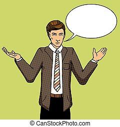 Businessman undecided pop art vector illustration