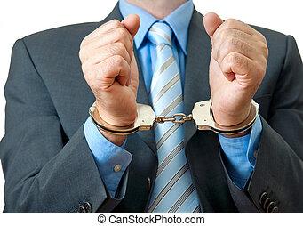 businessman under arrest - White collar criminal under ...