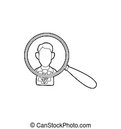 Businessman under magnifying glass icon