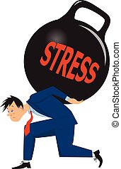 Businessman under stress - Depressed man carrying a heavy...