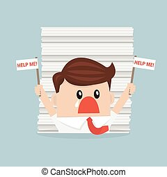 Businessman under the stack of paper, flat design, work concept