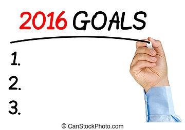 Businessman underlining 2016 goals text with black felt-tip