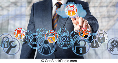 Businessman Unlocking Access To Managed Services - Man ...